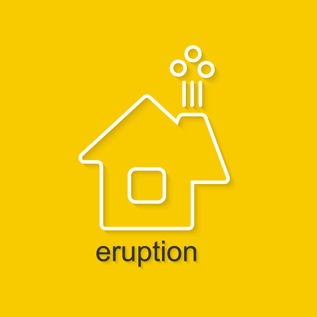eruption: Flat linear illustration on yellow background with black text of eruption. Isolated vector illustration for use in web and apps design Illustration