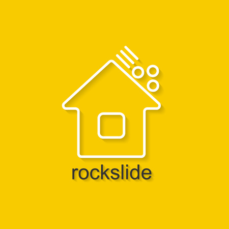 environmental disaster: Flat linear illustration on yellow background with black text of rockslide. Isolated vector illustration for use in web and apps design