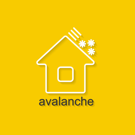 rockslide: Flat linear illustration on yellow background with black text of avalanche. Isolated vector illustration for use in web and apps design Illustration