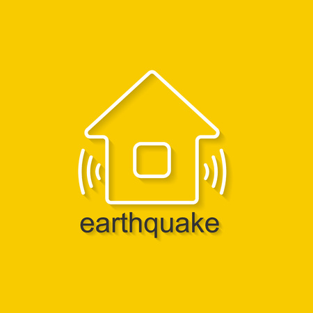 landslide: Flat linear illustration on yellow background with black text of earthquake. Isolated vector illustration for use in web and apps design