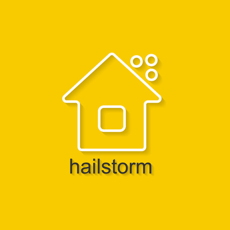 hailstorm: Flat linear illustration on yellow background with black text of hailstorm. Isolated vector illustration for use in web and apps design Illustration