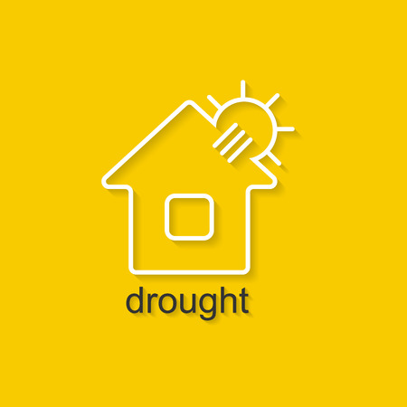 drought: Flat linear illustration on yellow background with black text of drought. Isolated vector illustration for use in web and apps design Illustration