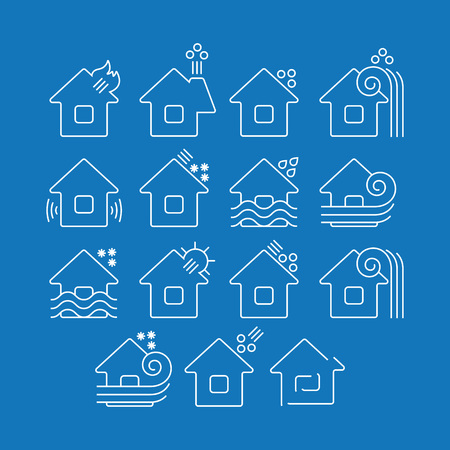 rockslide: Flat monochrome icons set of various types of natural disasters. Isolated vector illustration with eruption landslide ironfall blizzard tsunami rockslide drought snowfall avalanche earthquake fire flood hailstorm hurricane mudflow Illustration
