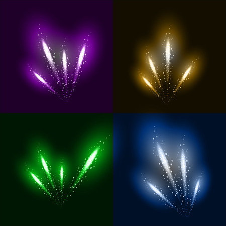 Set of 4 realistic fireworks different colors. Festive, bright firework for collage and design brochures, poster, wrapping paper, greeting card. Isolated salute for design. Festive fireworks. Vector illustration. Illustration