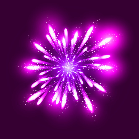 new years background: Fireworks illustration, dark background with firework show. Festive, bright firework for collage and design brochures, poster, wrapping paper, greeting card. Isolated salute for design. Festive fireworks. Vector illustration.