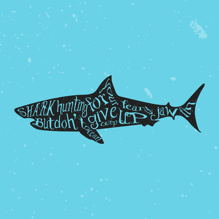 fonts vector: Typography monochrome vintage poster with shark silhouette, and hand drawn style fonts. Vector Illustration lettering.