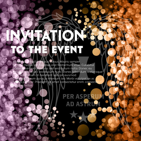 quilted: VIP party premium invitation cards posters flyers. Glow bokeh and quilted pattern decorative background. Vector illustration.