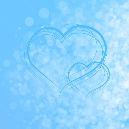 corazones azules: luz de fondo azul bokeh del vector a partir de luces blancas y azules de los corazones