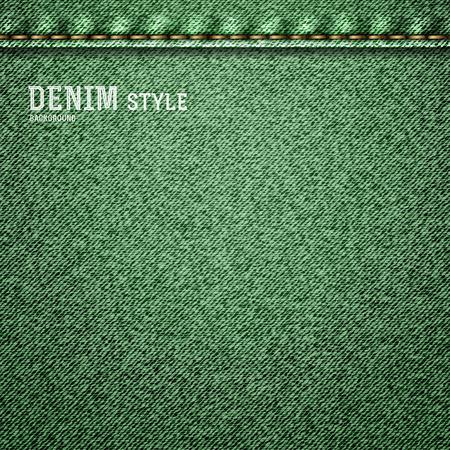apparel part: Denim, green jeans texture with label in vintage design. Vector illustration.