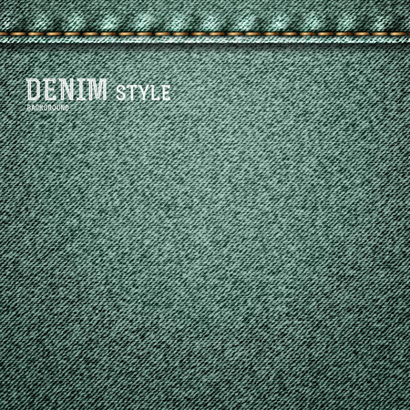gray thread: Denim, gray jeans texture with label in vintage design. Vector illustration.
