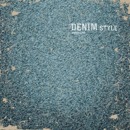 apparel part: Denim, blue jeans texture with label in vintage design. Vector illustration.