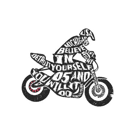dirt bike: Typography monochrome vintage poster with motorcyclist silhouette, and hand drawn style font. Vector Illustration lettering.