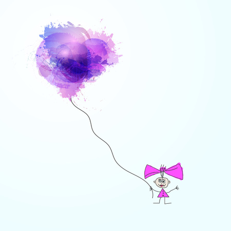 happiness concept: Hand drawn vector illustration of happy girl with watercolor abstract  balloons. Happiness concept