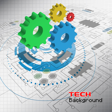 mechanical engineering: Abstract technology background with gears on the motherboard. Vector illustration.