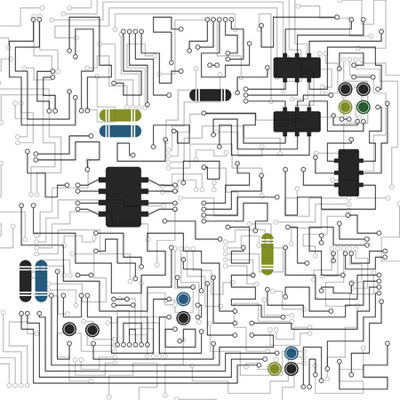 electronic circuit: Abstract hi-tech electronic background with circuit board texture. Vector illustration.