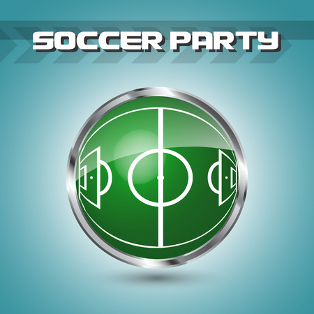 Green grass sphere with soccer field on a blue clear background. Design for football or soccer championship, soccer party. Vector illustration.