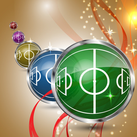 Multicolored grass sphere with soccer field on a festive background. Design for football or soccer championship. Vector illustration.