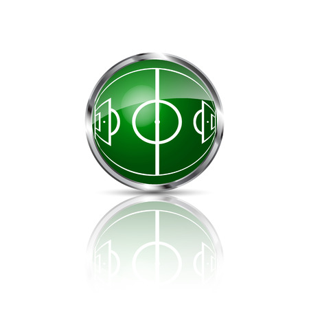 Green grass sphere with soccer field on a white clear background. Vector illustration. Ilustração