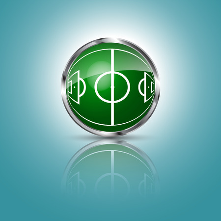 Green grass sphere with soccer field on a blue clear background. Vector illustration. Vetores