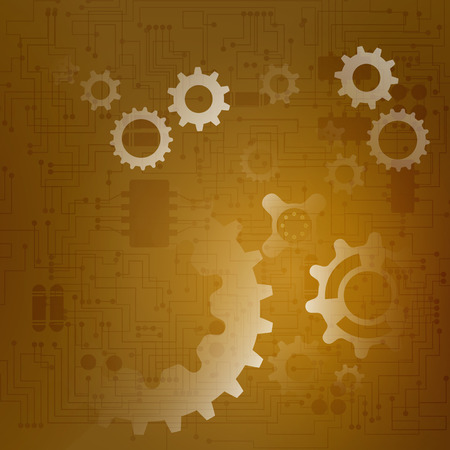 Zusammenfassung Technologie Hintergrund mit Gangschaltung auf dem Motherboard. Vektor-Illustration.