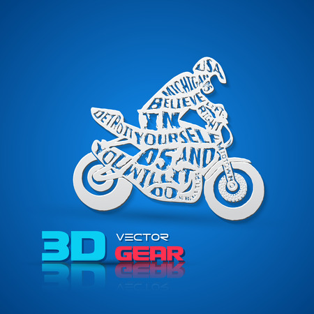 motorcyclist: Flat monochrome poster with motorcyclist silhouette, and hand drawn style font. Paper 3d style vector Illustration.
