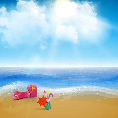 skyblue: Vector beach landscape with a sky-blue ocean, golden sands and palm trees