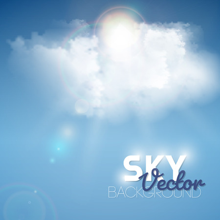 fluffy: Realistic blue fluffy cloud with sun background. Vector illustration.