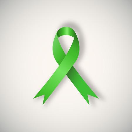 벡터 유방암 인식 밝은 배경에 녹색 리본.
