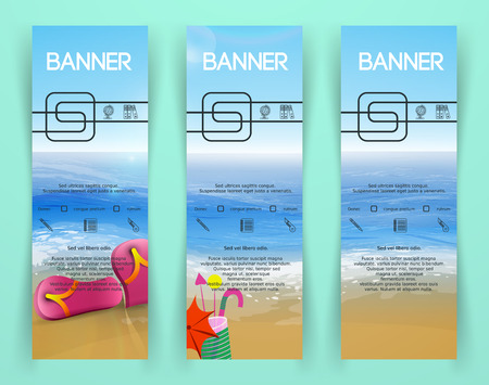 skyblue: Beach landscape Banners. Banners with a sky-blue ocean, golden sands texture. Illustration