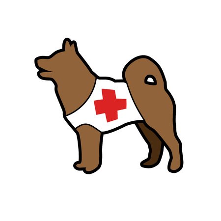 swiss alps: Silhouette of the rescue dog with red cross, vector, cartoon picture, isolated on white background.