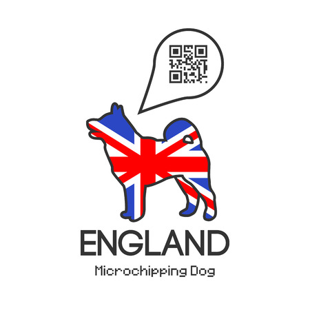 tagged: All dogs in England to be tagged with a microchip implant. Vector illustration with friendly design. Illustration