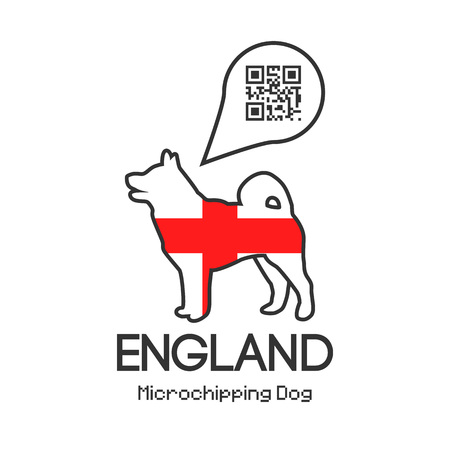 All dogs in England to be tagged with a microchip implant. Vector illustration with friendly design. Illustration
