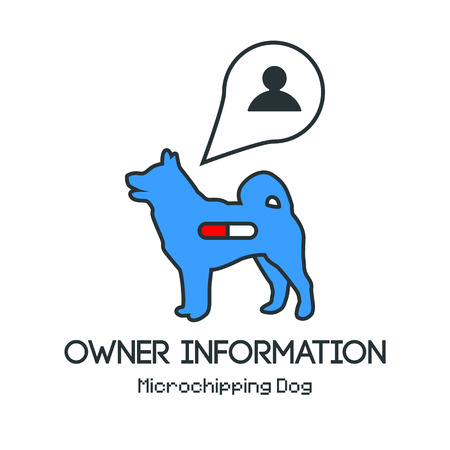 tagged: Icon dogs silhouette with microchip pill inside the body and information about owner tagged with a microchip implant. Vector illustration with friendly design. Illustration