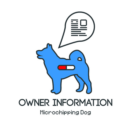 Icon dogs silhouette with microchip pill inside the body and information about owner tagged with a microchip implant. Vector illustration with friendly design. Illustration