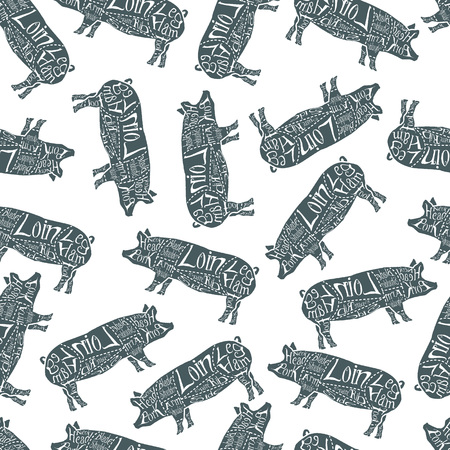 American cuts of pork, vintage typographic hand-drawn butcher cuts scheme seamless pattern. Vector illustration. Stock Illustratie