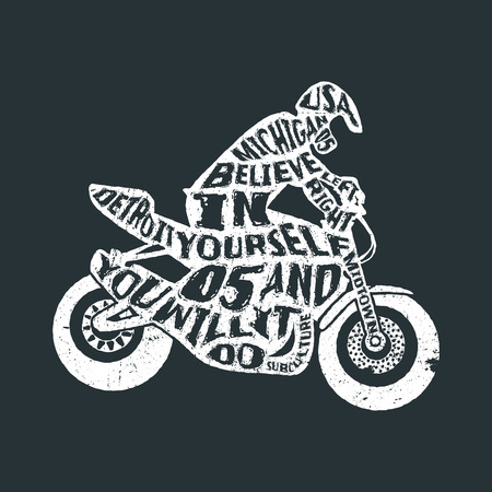 Typography monochrome vintage poster with motorcyclist silhouette, and hand drawn style font. Vector Illustration lettering.