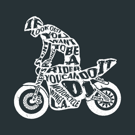 motorcyclist: Typography monochrome vintage poster with motorcyclist silhouette, and hand drawn style font. Vector Illustration lettering.