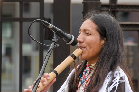 enea: Moscow, Russia, A street musician in a national Indian clothes. Street musicians at underground VDNH 06,09,2012