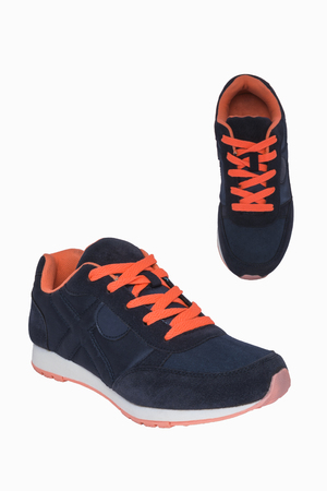 female soles: Women dark blue sneakers with orange laces and pink soles