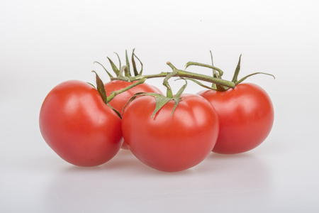 Four red tomatoes with green twig on a table on a white background
