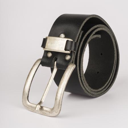 Black leather mens belt on a white background