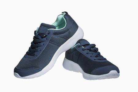Dark blue snickers with a white sole and peppermint lining