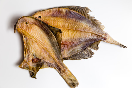 dried flounder lie on a white background Banque d'images
