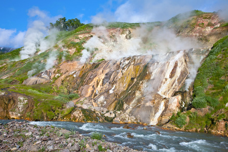 Operating geysers in Russia on the peninsula of Kamchatka