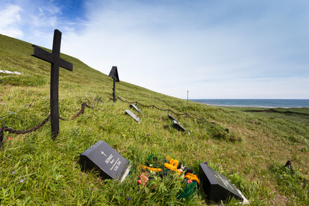Russia, Bering Island, bay Commodore, 12.07.2014. Vitus Bering of a grave where it and his companions were lost in 1741 year   having suffered ship-wreck and having remained on wintering.