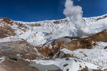 Russia, Kamchatka. Caldera of the Mutnovsky Volcano Stock Photo