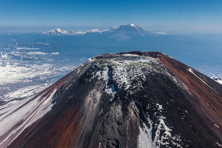 effusion: Crater of the Avacha volcano in case of flight of the helicopter Stock Photo