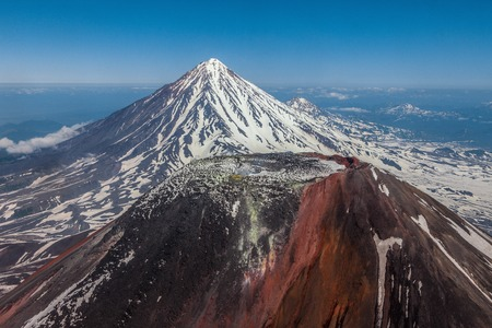 Crater of the Avacha volcano in case of flight of the helicopter Stock Photo