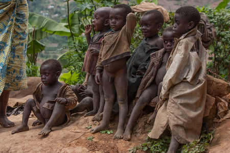 16nd February 2009. Children in the village of pygmies on the lake Bunyoni in Uganda
