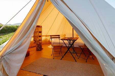Glamping on the Pacific coast in an ecologically clean place in Russia. Kamchatka. Selective focus